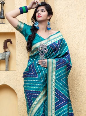 Blue Banarasi Silk Weaving Traditional Saree