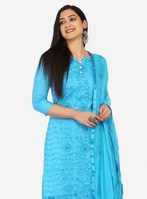 Blue Blended Cotton Festival Designer Palazzo Suit