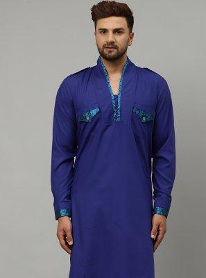 Blue Blended Cotton Indo Western