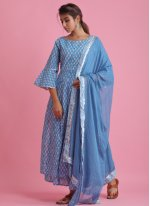 Blue Block Print Cotton Readymade Suit