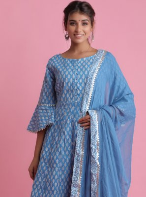 Blue Block Print Cotton Readymade Suit