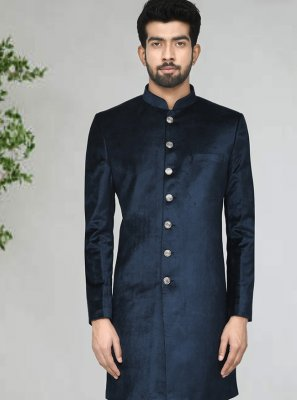 Blue Buttons Party Indo Western Sherwani