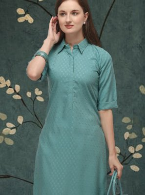 Blue Casual Cotton Casual Kurti