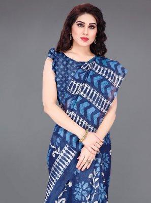Blue Casual Khadi Silk Traditional Saree