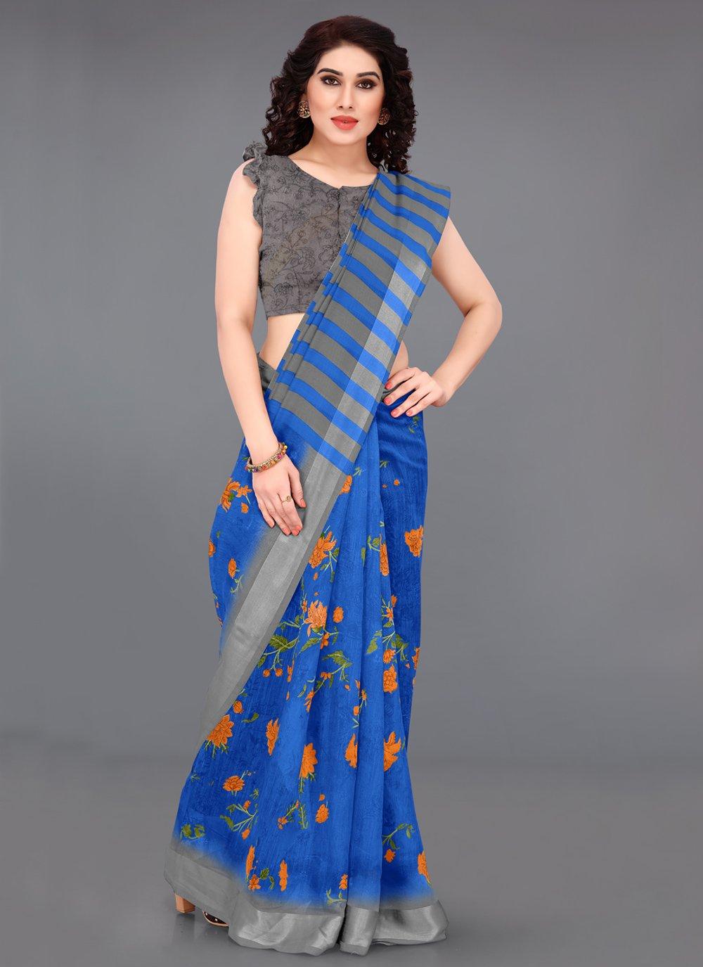 Blue Casual Printed Saree