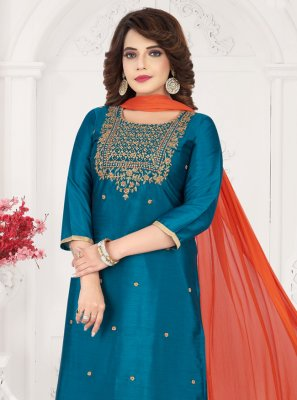 Blue Ceremonial Art Silk Bollywood Salwar Kameez