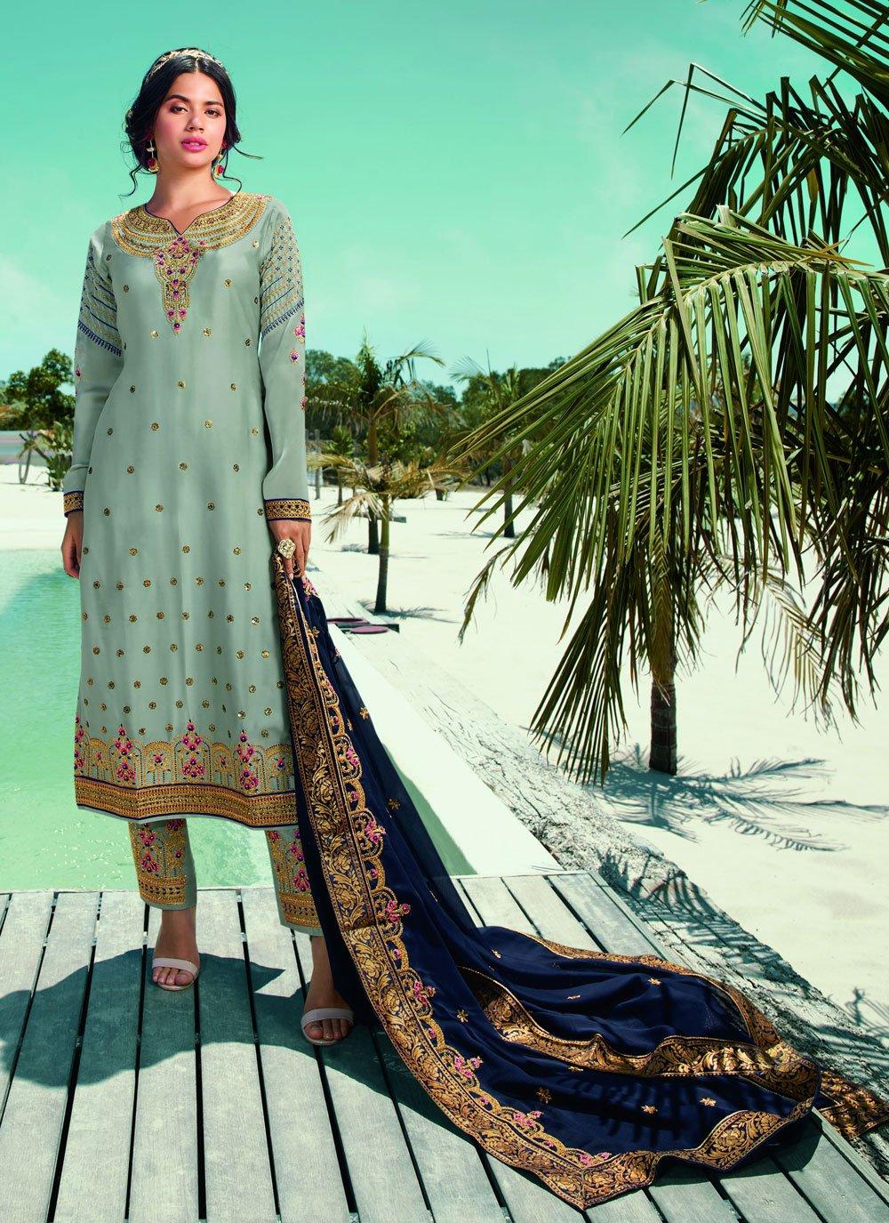 Blue Ceremonial Designer Pakistani Suit