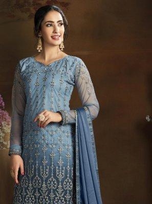 Blue Ceremonial Designer Palazzo Suit