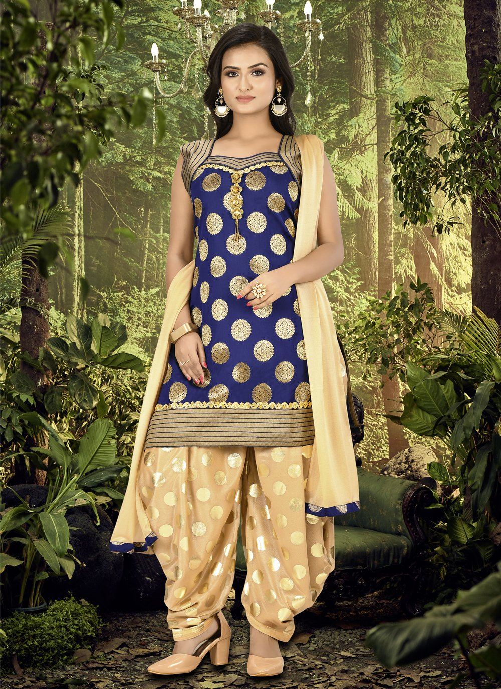Blue Ceremonial Designer Patiala Suit