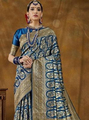 Blue Ceremonial Designer Traditional Saree