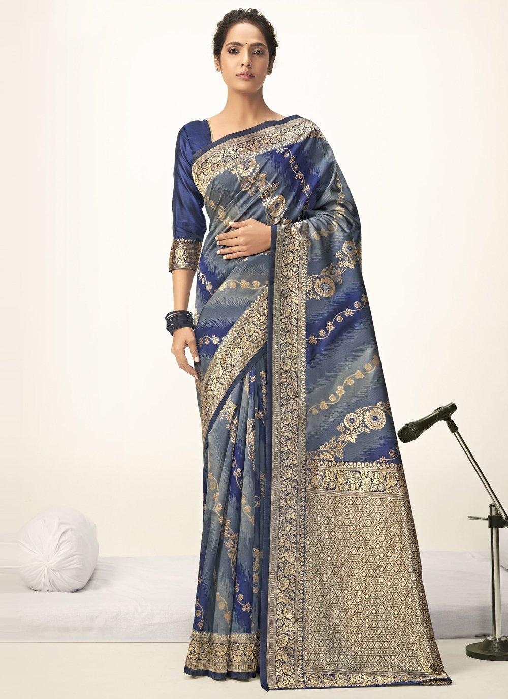 Blue Ceremonial Jacquard Silk Shaded Saree