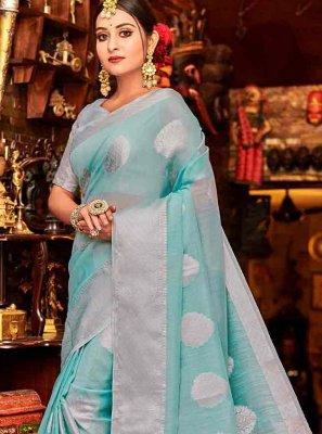 Blue Ceremonial Linen Classic Designer Saree