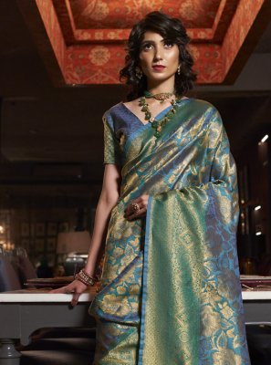 Blue Ceremonial Silk Traditional Designer Saree