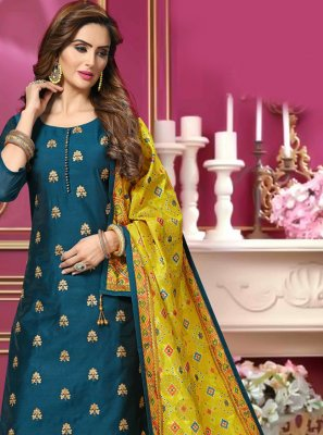 Blue Chanderi Embroidered Bollywood Salwar Kameez