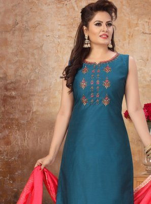 Blue Chanderi Embroidered Readymade Suit
