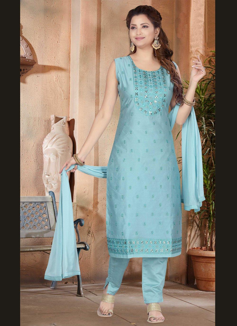 Blue Chanderi Engagement Designer Suit