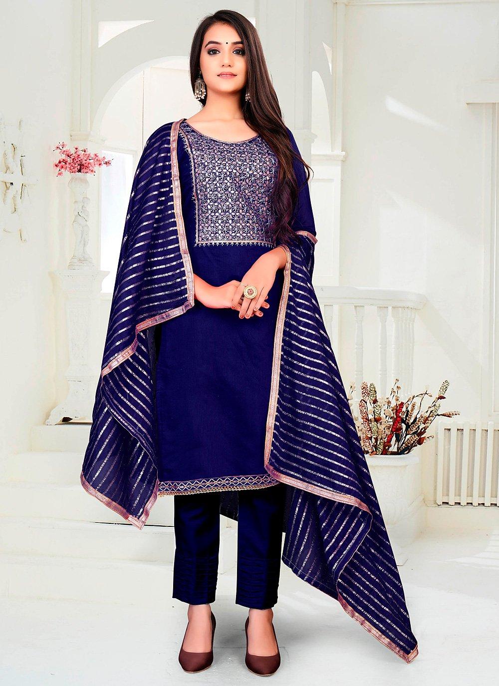 Blue Chanderi Festival Pant Style Suit
