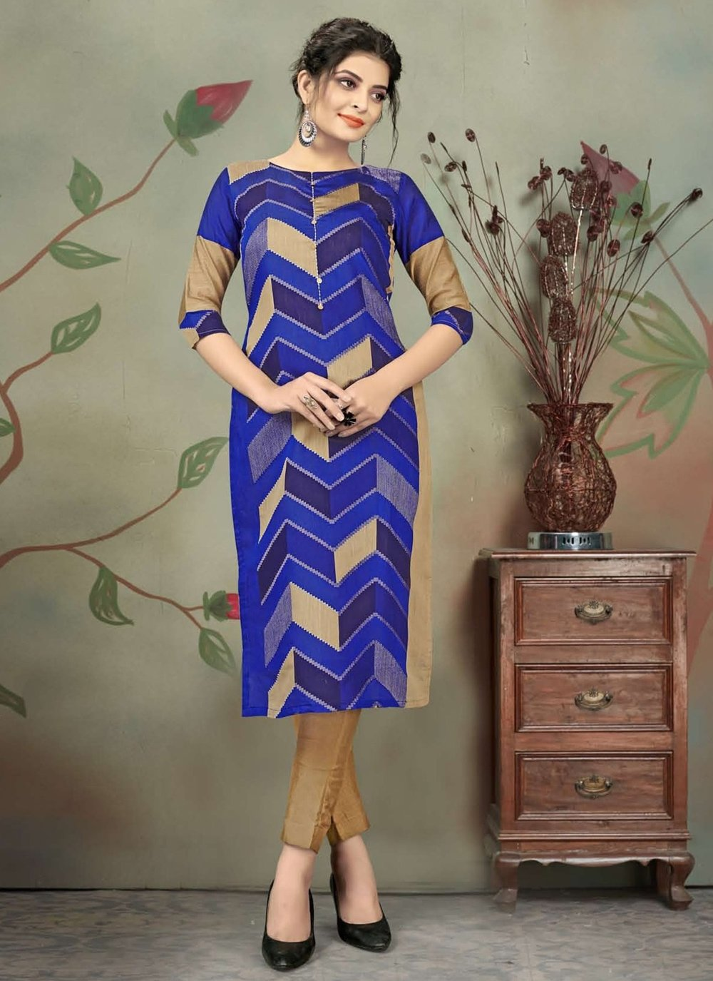 Blue Chanderi Print Designer Kurti