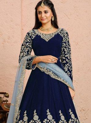 Blue Color Anarkali Salwar Kameez