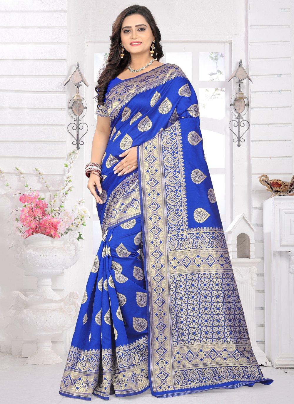 Blue Color Classic Designer Saree