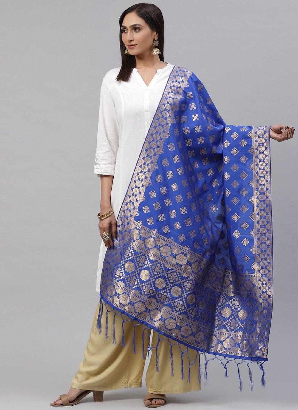 Blue Color Designer Dupatta
