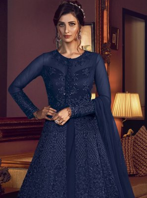 Blue Color Designer Floor Length Suit