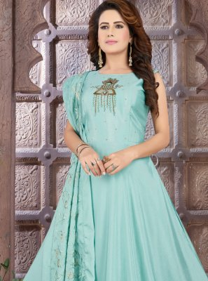 Blue Color Floor Length Anarkali Suit