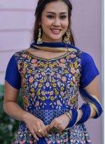 Blue Color Floor Length Designer Salwar Suit