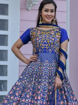 Blue Color Floor Length Designer Salwar Suit