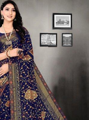Blue Color Printed Saree