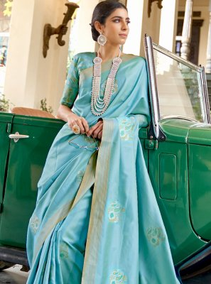 Blue Color Traditional Designer Saree