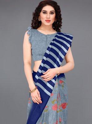 Blue Cotton Abstract Print Printed Saree