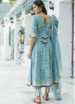 Blue Cotton Bollywood Salwar Kameez