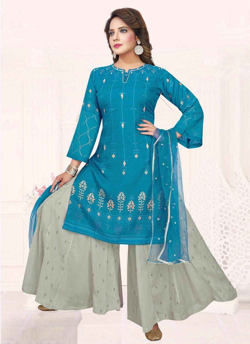 Blue Cotton Ceremonial Bollywood Salwar Kameez