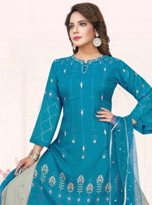 Blue Cotton Ceremonial Bollywood Salwar Kameez
