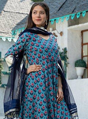 Blue Cotton Ceremonial Readymade Suit