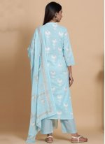 Blue Cotton Festival Readymade Suit