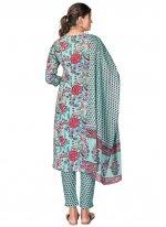 Blue Cotton Print Readymade Suit