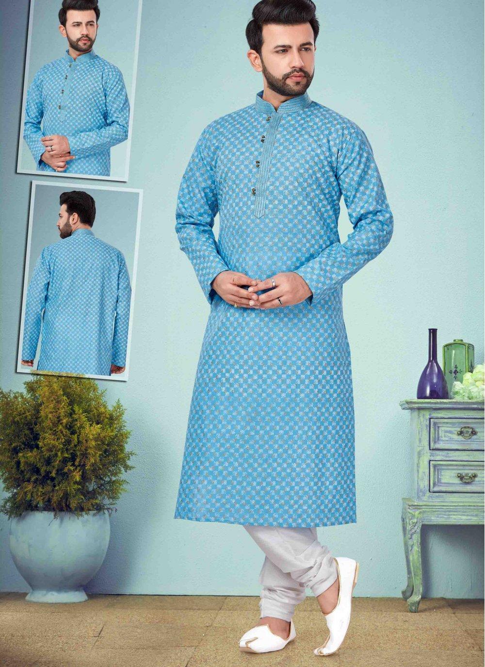 Blue Cotton Silk Ceremonial Kurta Pyjama