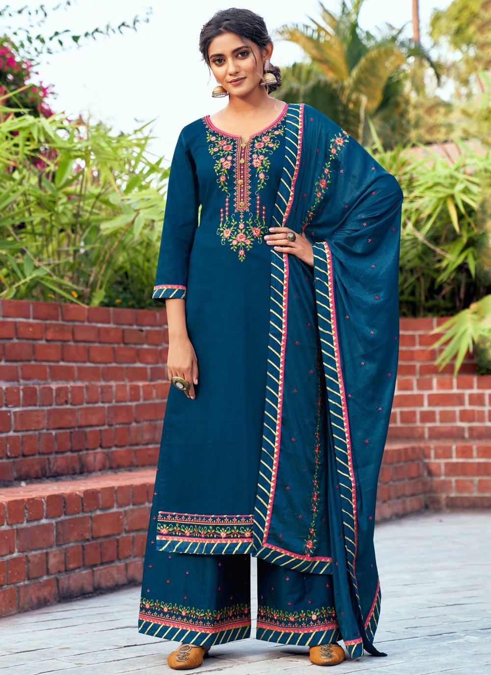 Blue Cotton Silk Embroidered Designer Salwar Kameez
