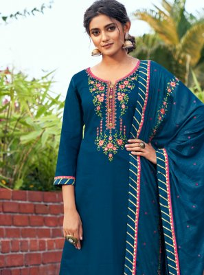 Blue Cotton Silk Embroidered Designer Salwar Kameez
