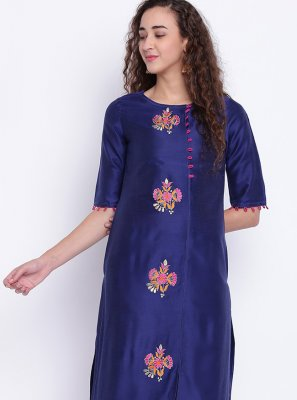 Blue Cotton Silk Festival Party Wear Kurti