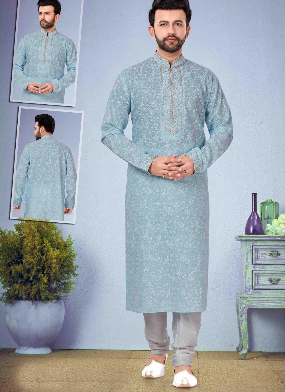 Blue Cotton Silk Kurta Pyjama