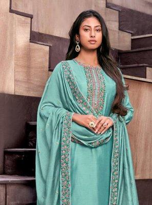 Blue Cotton Silk Palazzo Designer Suit