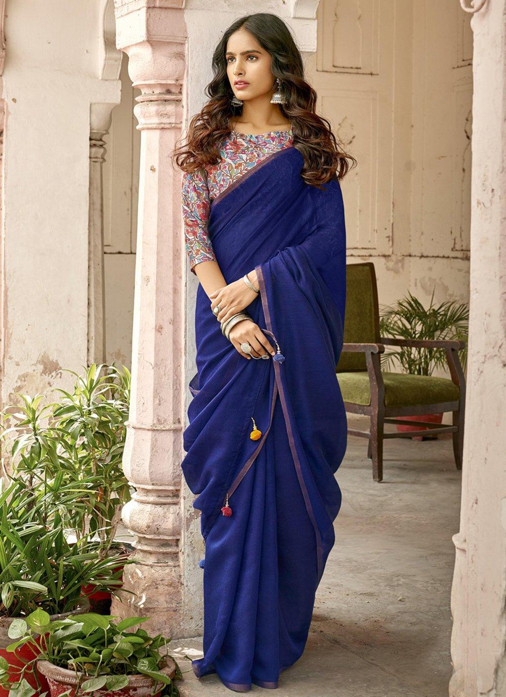 Blue Cotton Traditional Designer Saree