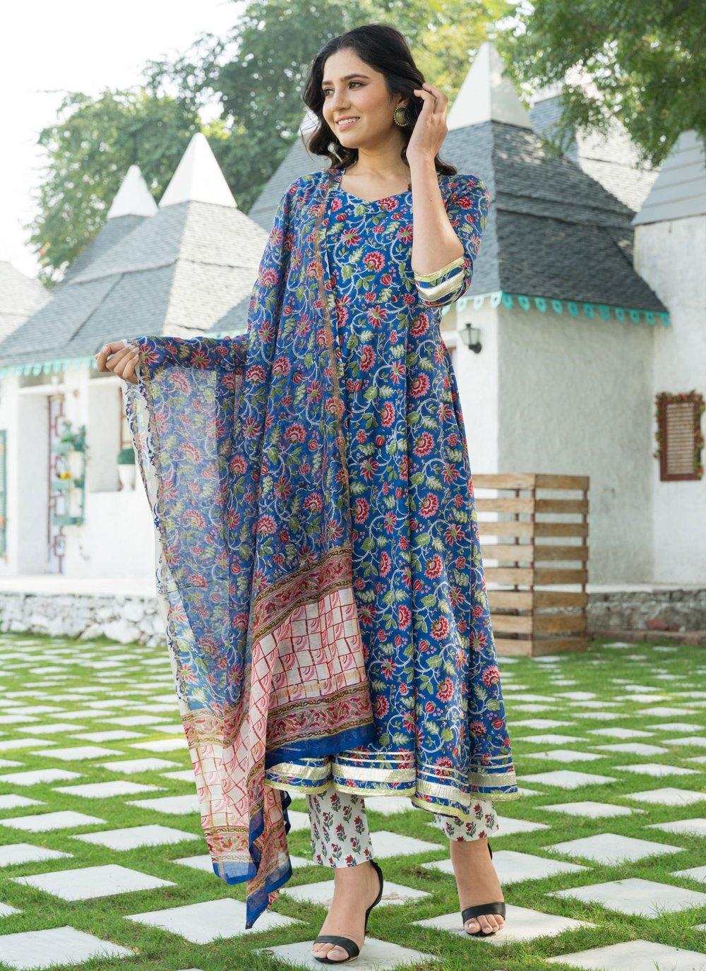 Blue Cotton Trendy Anarkali Salwar Suit