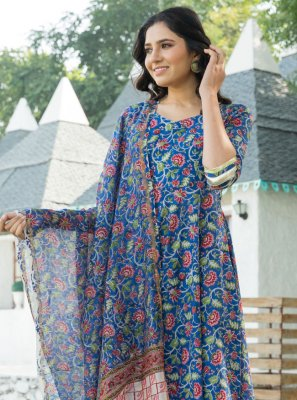 Blue Cotton Trendy Anarkali Salwar Suit