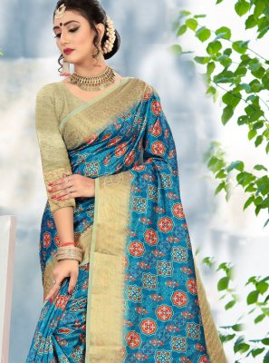 Blue Cotton Woven Classic Saree
