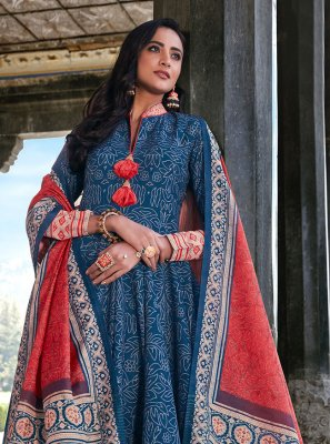 Blue Digital Print Silk Readymade Anarkali Suit