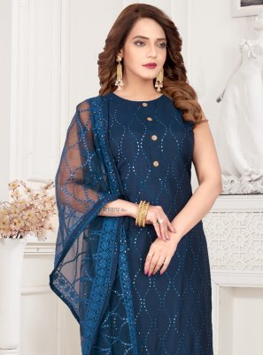 Blue Embroidered Art Silk Readymade Suit